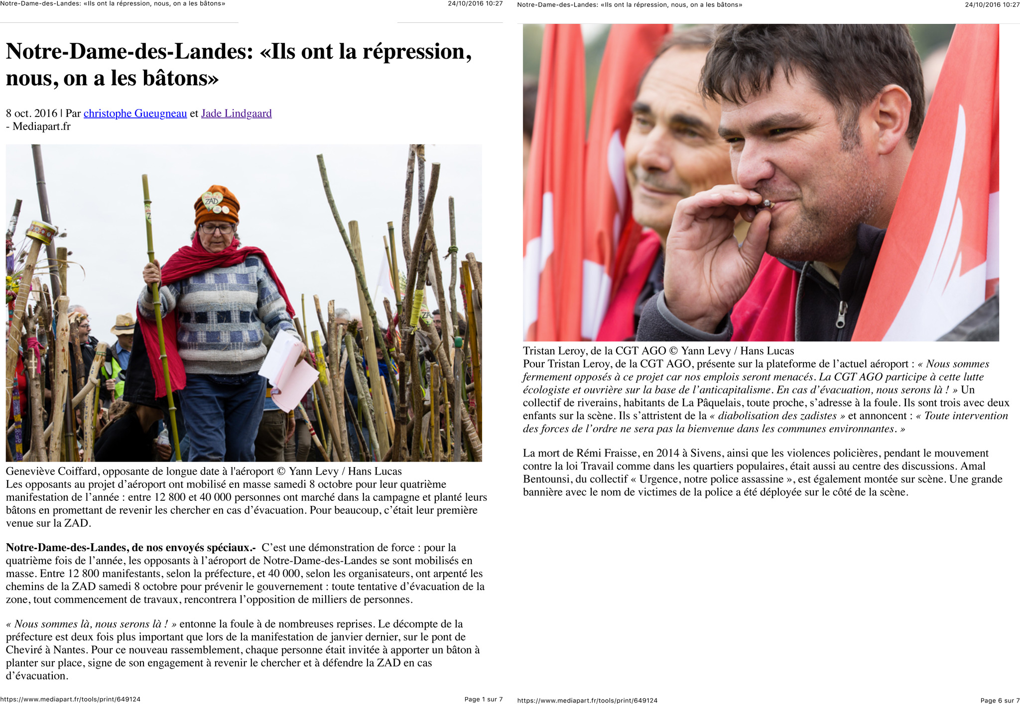Notre-Dame-des-Landes: «Ils ont la répression, nous, on a les