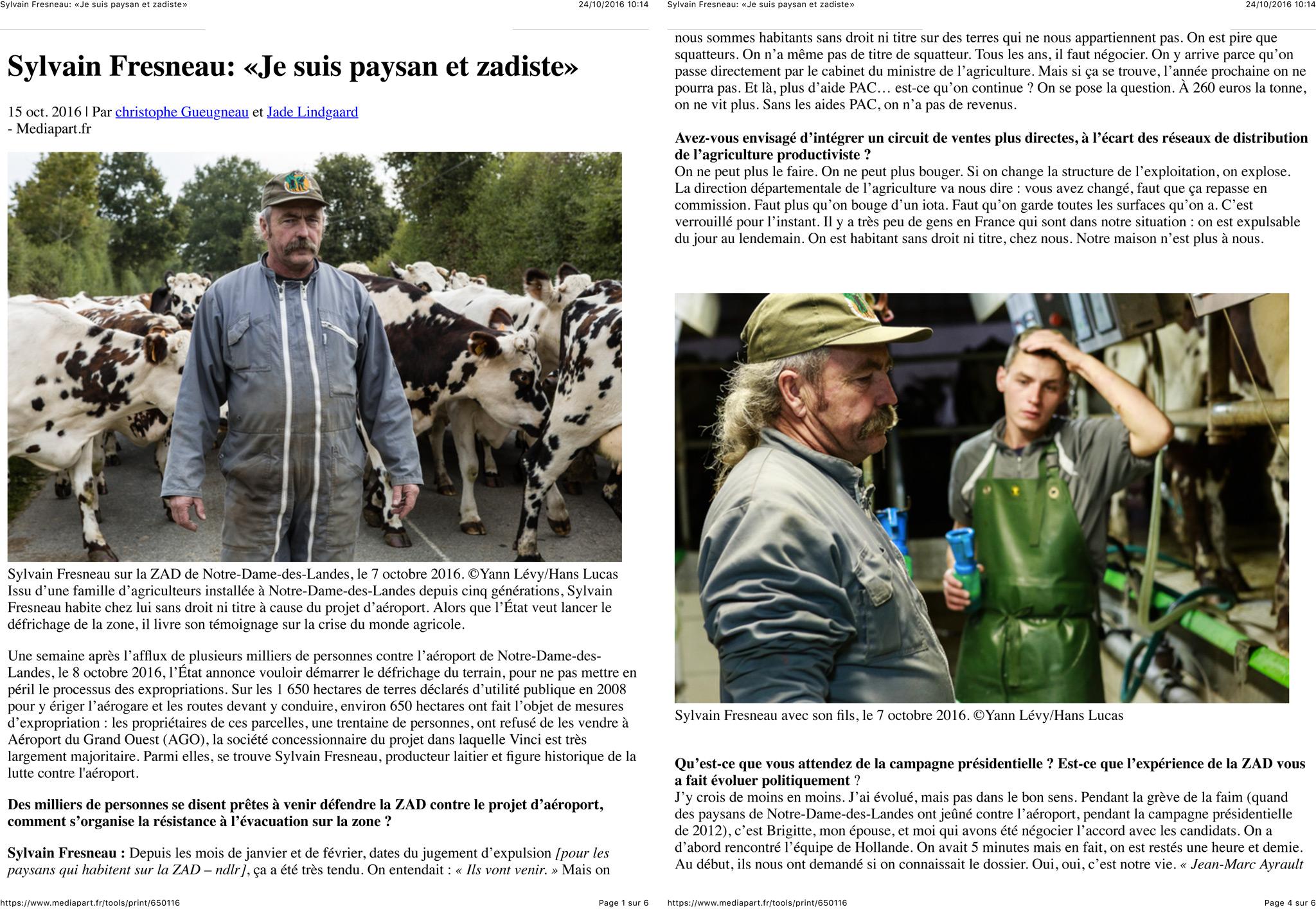 Sylvain Fresneau: «Je suis paysan et zadiste»