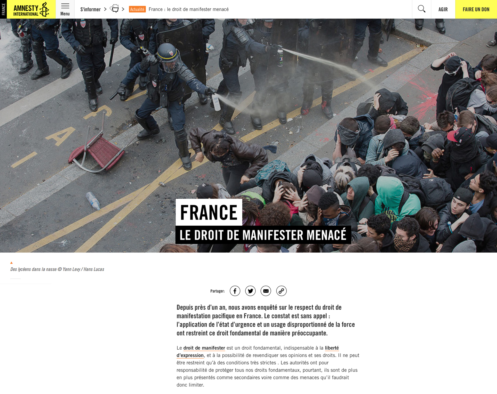 FRANCE LE DROIT DE MANIFETER Rapport Amnesty International
