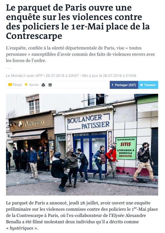 Alexandre Benalla place de la Contrescarpe le 1er mai 2018 sur lemonde.fr